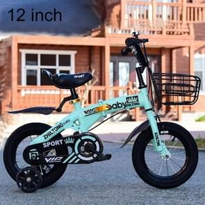 ZHILTONG 5166 12 inch Foldable Portable Children Pedal Mountain Bike with Front Basket & Bell, Recommended Height: 90-105cm(Green)