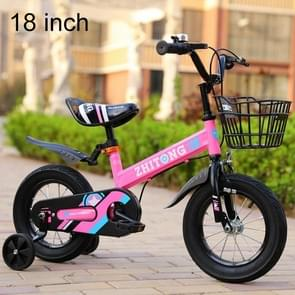 ZHITONG 8366 18 inch Fashion Version Children High Carbon Steel Frame Balance Car Pedal Bicycle with Front Basket & Bell, Recommended Height: 120-135cm(Pink)