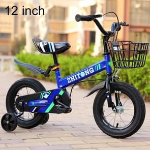 ZHITONG 8366 12 inch Fashion Version Children High Carbon Steel Frame Balance Car Pedal Bicycle with Front Basket & Bell, Recommended Height: 90-105cm(Blue)