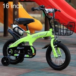 ZHITONG 5188 16 inch Sports Version Children High Carbon Steel Frame Pedal Bicycle with Front Basket & Bell, Recommended Height: 108-125cm(Green)