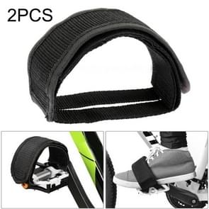 2 PCS Bicycle Pedals Bands Feet Set With Anti-slip Straps Beam Foot(Black)