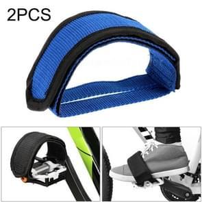 2 PCS Fiets pedalen Banden Voeten Set Met Anti-slip Straps Beam Foot (Blauw)
