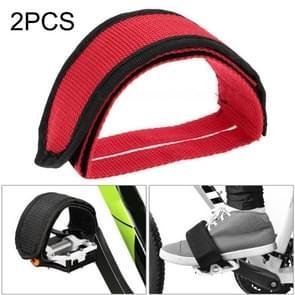 2 PCS Fiets pedalen Banden Voeten Set Met Anti-slip Straps Beam Foot (Rood)