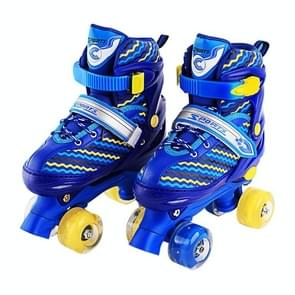 Children Full-flash White Double-row Roller Skates Skating Shoes, Double Row Wheel, Size : S(Blue)