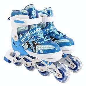 Children Flash Single-row Roller Skates Skating Shoes, Single Flash, Size : L(Blue)