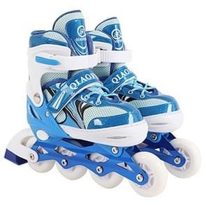 Children Flash Single-row Roller Skates Skating Shoes, Full Flash, Size : L(Blue)