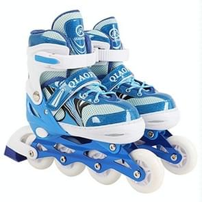 Children Flash Single-row Roller Skates Skating Shoes, Full Flash, Size : S(Blue)