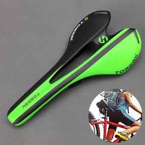 TOSEEK Road Bike Carbon Fiber Seat Bicycle Hollow Seat Saddle, 3K Texture + Extinction(Green)
