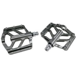 SHANMASHI TIGER 1 Pair Anti-slip Foot Pedal Aluminium Shaft Mountain Bike Pedal (Titanium Color)