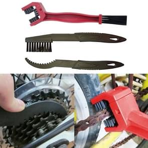 2 Set Bicycle Chain Cleaning Brush Flywheel Cleaning Tools Crankset Brush Cleaning Chain Wheel Set Brush (Red)