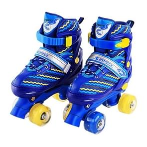 Children Full-flash White Double-row Roller Skates Skating Shoes, Double Row Wheel, Size : M(Blue)