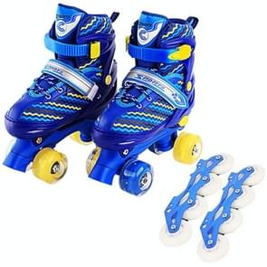 Children Full-flash White Double-row Roller Skates Skating Shoes, Straight Row+Double Row Wheel, Size : S(Blue)