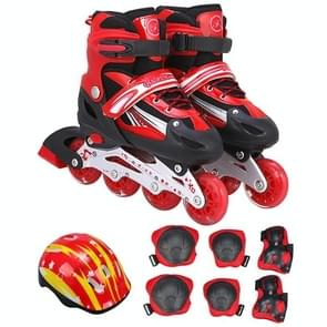 Children Adult Flash Straight Row Roller Skates Skating Shoes Suit, Size : M (Red)