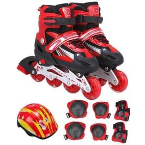 Children Adult Flash Straight Row Roller Skates Skating Shoes Suit, Size : S (Red)