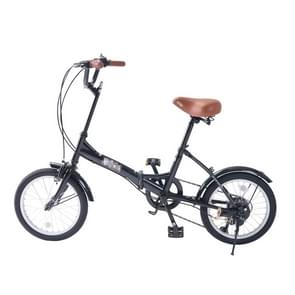 [JPN Warehouse] 16 inch Folding 6-speed Variable Speed Bicycle for Women  with Bell & Mirror(Black)