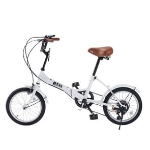[JPN Warehouse] 16 inch Folding 6-speed Variable Speed Bicycle for Women  with Bell & Mirror(White)