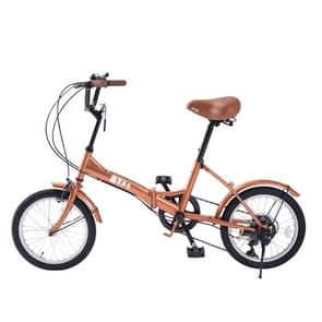 [JPN Warehouse] 16 inch Folding 6-speed Variable Speed Bicycle for Women  with Bell & Mirror(Brown)