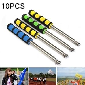 10 PCS 2.5M 10 Knots Multi-function Telescopic Stainless Steel Sponge Teaching Stick Guide Flagpole Signal Flag, Random Color Delivery