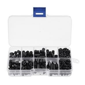 300PCS Nylon M3 Hexagonal Screw Nut Separation Pillar Combination Set (Black)