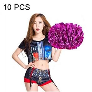 10 PCS Square Dance Aerobics Cheerleading Ball Hand Flower Bouquet, Ribbon Length: 30cm(Magenta)