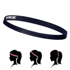 AONIJIE hoge elastische Tennis hoofdband zweet Bands  Unisex buiten uitgevoerd rijden zweet gids Bands  hoofd omtrek: 46-60cm(Black)