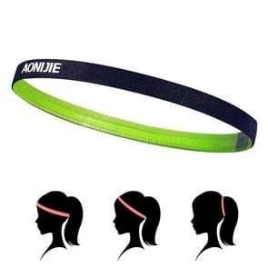 AONIJIE hoge elastische Tennis hoofdband zweet Bands  Unisex buiten Running paardrijden zweet gids Bands  Hoofdomtrek: 46-60cm (lichtgroen)