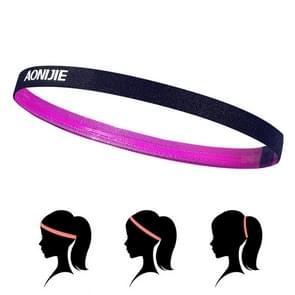 AONIJIE hoge elastische Tennis hoofdband zweet Bands  Unisex buiten uitgevoerd rijden zweet gids Bands  hoofd omtrek: 46-60cm(Magenta)