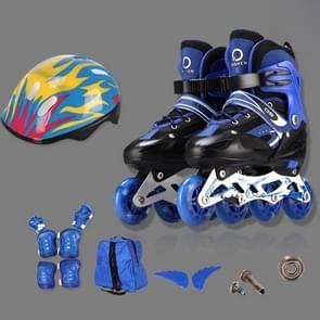 Oushen Adjustable Full Flash Children Single Four-wheel Roller Skates Skating Shoes Set, Size : L(Blue)