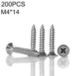 200 PCS 201 Stainless Steel Cross Countersunk Tapping Thread Screw, M4x14