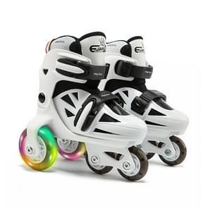 Adjustable Children Flash Four-wheel Roller Skates Skating Shoes, Size : S (Black White)