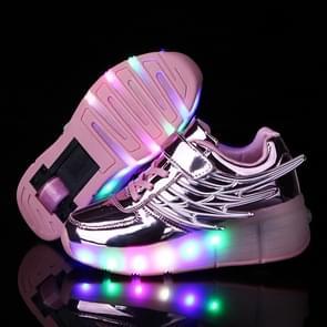 K02 LED Light Single Wheel Wing Rolschaatsen Schoenen Sportschoenen  Grootte : 34 (Roze)