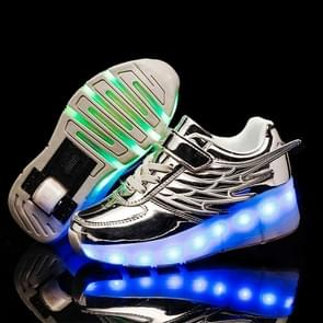 CD02 LED Rechargeable Single Wheel Wing Roller Skating Shoes, Size : 32 (Silver)