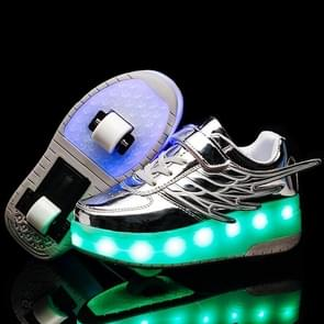 CD03 LED Rechargeable Double Wheel Wing Roller Skating Shoes, Size : 28 (Silver)