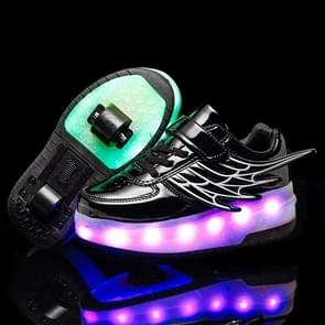 CD03 LED Rechargeable Double Wheel Wing Roller Skating Shoes, Size : 36 (Black)