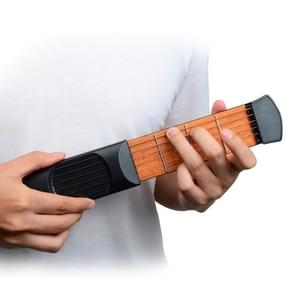Mini Pocket Guitar Portable Guitar Trainer Finger Chord Conversion Trainer KD10(Black 4 characters)