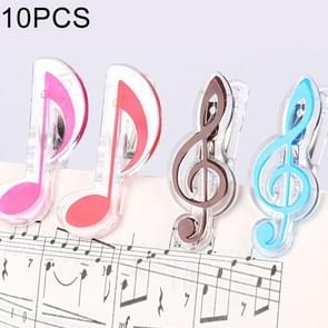 10 PCS PP Material Stainless Steel Spring Music Note Shape Book Clip Deluxe Page Holder, Random Color Delivery