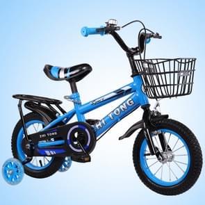 16 inch Kinderfiets trainingswielen kids fiets met achterbank (Blauw)