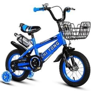 18 inch Kinderfiets trainingswielen kids fiets met waterkoker (Blauw)