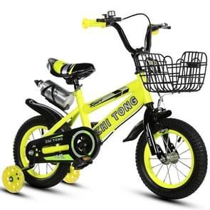 18 inch Kinderfiets trainingswielen kids fiets met waterkoker (Geel)