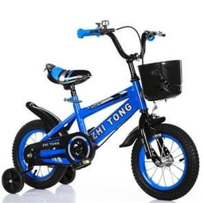 18 inch kinderfiets met trainingswielen(Blauw)