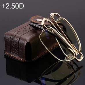 Folding Anti Blue-ray Presbyopic Reading Glasses with Case & Cleaning Cloth, +2.50D(Gold)
