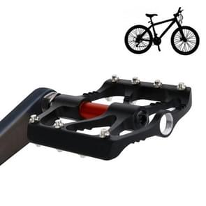 1 Pair B068 Aluminum Alloy Platform Pedals CNC Steel Axle 9/16 inch for Bike MTB BMX (Black)