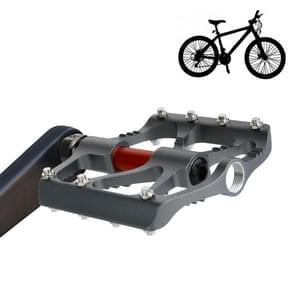1 Pair B068 Aluminum Alloy Platform Pedals CNC Steel Axle 9/16 inch for Bike MTB BMX (Grey)