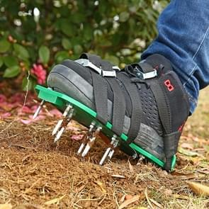 Garden Lawn Garden Tools Grass Ripper Spiked Shoes with 8 Metal Buckles (Green)