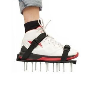 Garden Lawn Garden Tools Grass Ripper Spiked Shoes with 4 Plastic Buckles (Black)