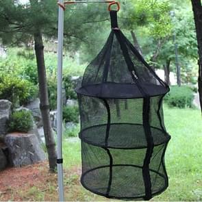 Camping Picnic Folding Tableware Vegetables Fruit Dry Net Hanging Mesh Dish Dryer Rack Shelf(Black)