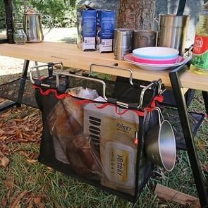 Outdoor Picnic Camping Foldable Mesh Basket Metal Bracket Cookware Holder Organizer Rack