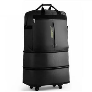 91L Retractable Suitcase Foldable Unisex Suitcase Lockable Travel Spinner Rolling Trolley Clothing Bag(Black)