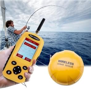 XF-03 Wireless Fish Detector 125KHz Sonar Sensor 0.6-36m Depth Locator Fishes Finder with 2.4 inch LCD Screen & Antenna, Built-in Water Temperature Sensor