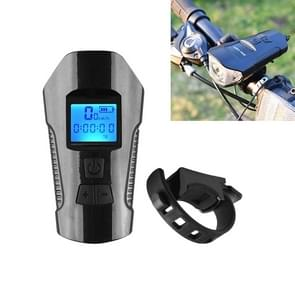 350LM USB Charging waterdichte snap-on fiets koplamp met speaker & stopwatch functie (zwart)